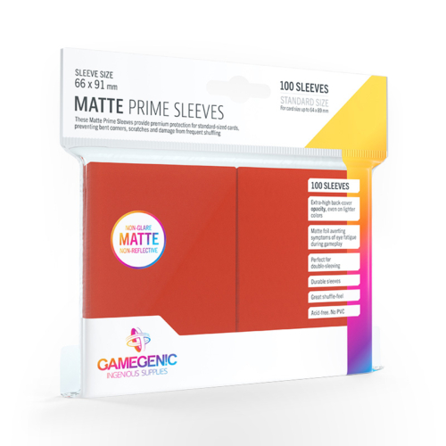 GAMEGENIC Card Game Sleeves: Matte Prime Red