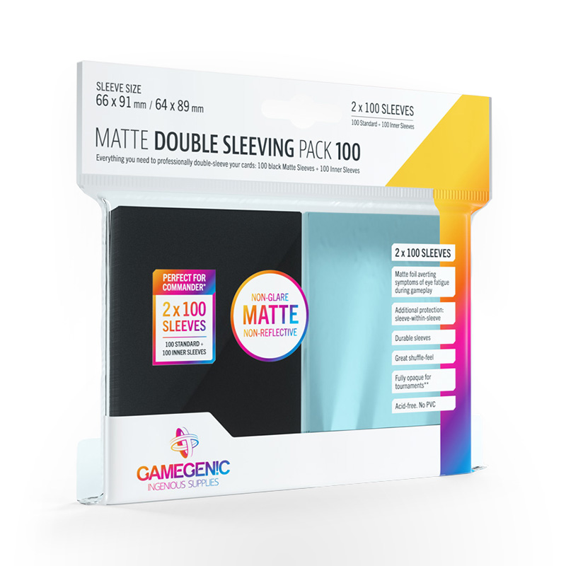 GAMEGENIC Matte Double Sleeving Pack Clear/Black